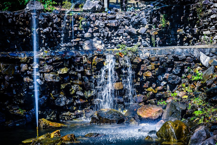 Man-made waterfall in Hot Springs, Arkansas.  This was designed to look like the natural springs ...