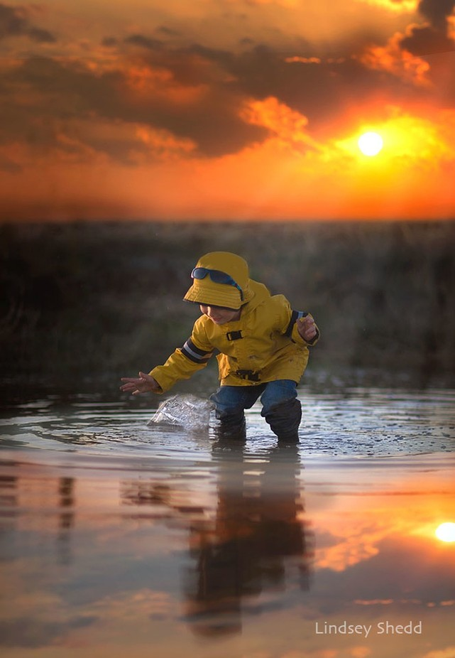 Splashing puddles = Boy Bliss! by Lindsey_Shedd - Get Wet Photo Contest