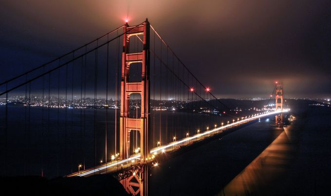 Golden Gate Bridge at night by ZoltanBenyei - Spectacular Bridges Photo Contest