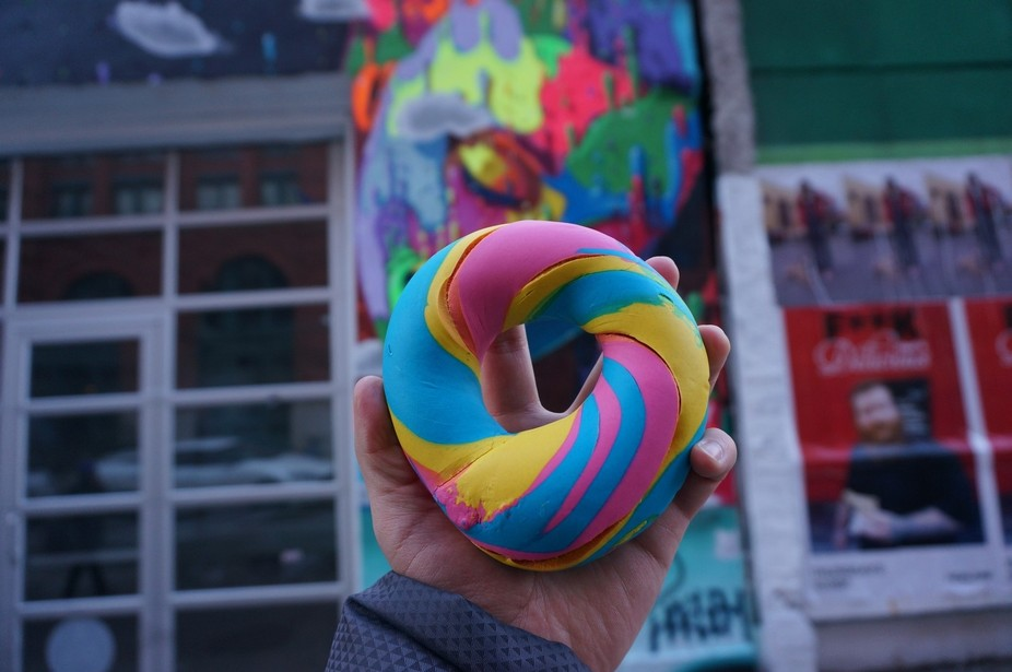 This is a pic of the famous rainbow bagel in NYC.