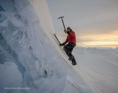 Alasdair climbing on the pressure ridges