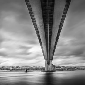 Underneath the Foyle Bridge in Derry N.Ireland. Lovely geometry in black and white.
