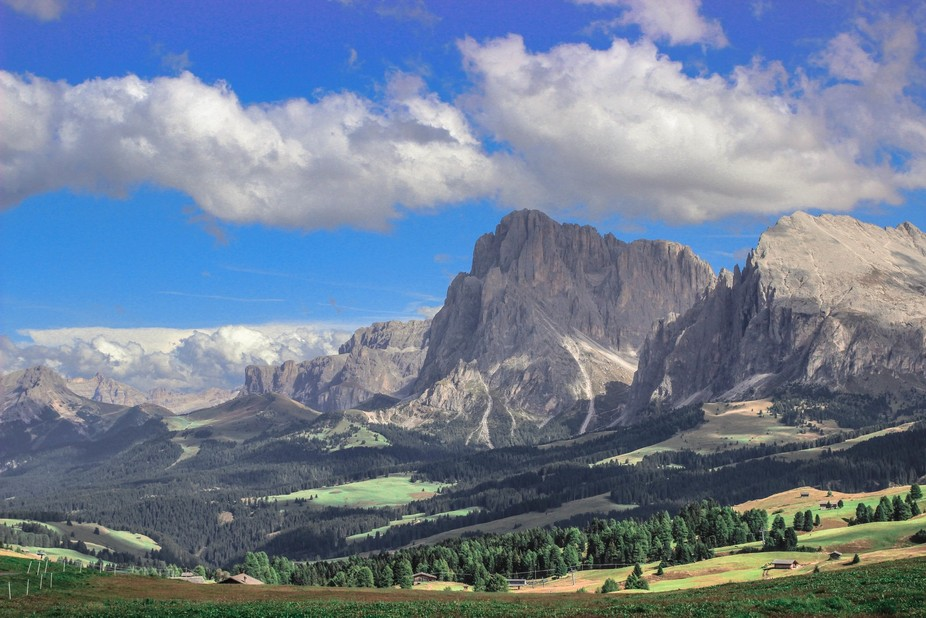A capture of a valley by the side of the majesty Dolomite mountain range in northern Italy.