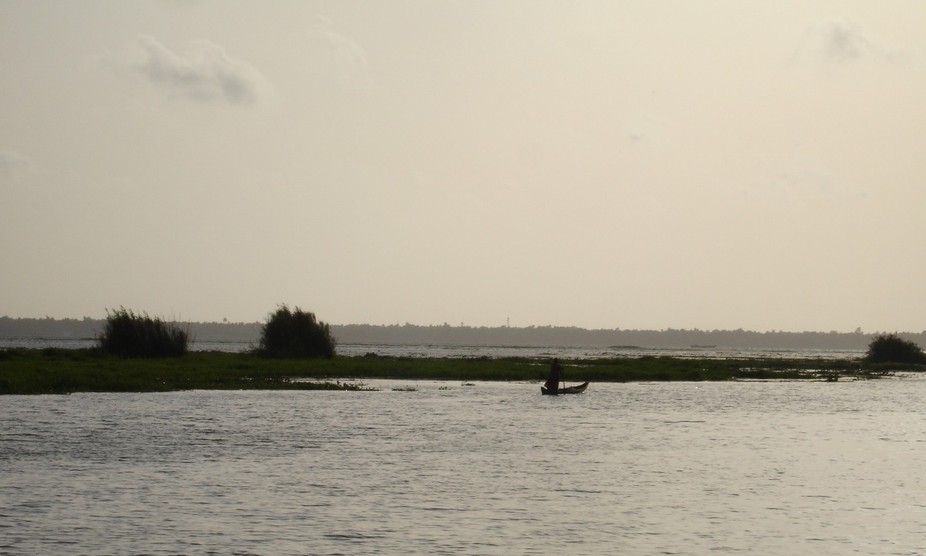 'The Brave Woman' on the Vembanad Lake of Kerala, India
