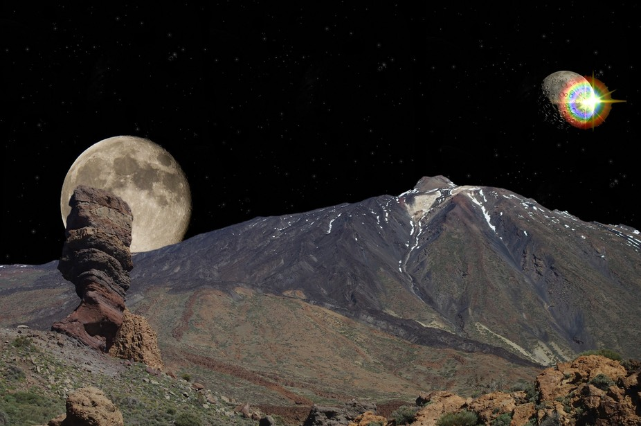 Quick hash-up of Mount Teide, Tenerife, how I'd like to see it :-)