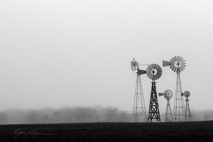 Windmills in the fog by ryanminion - Windmills Photo Contest