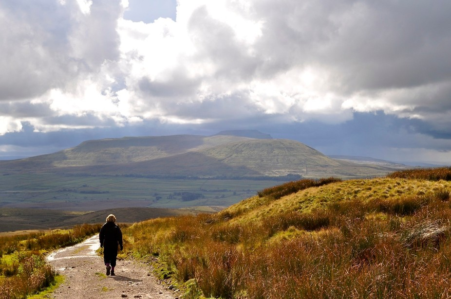 The afternoon of an October day, storm clouds gathering over Pen-Y-Gent.