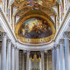 This is a photo looking in to St. Mark's Church , Palace of Versailles, from the second floor.