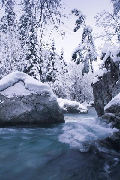 Blue winter water
