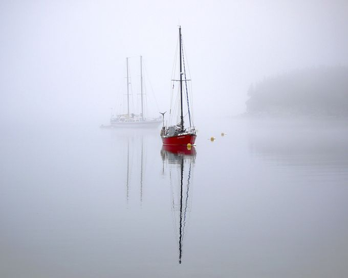 Sailboat in the Fog by lindagagnon - Lakes And Reflections Photo Contest