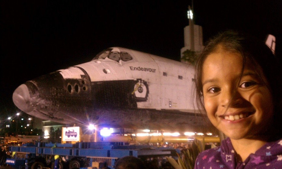 Moving Endeavour through Los Angeles.