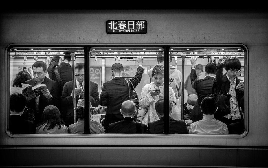 Life inside the tokyo metro train