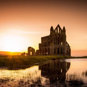 A view of the ruins of Whitby Abbey on the north east coast of England.  Whitby was the inspiration for Bram Stoker's original vampire novel...