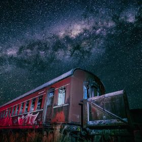 Abandoned train carriage under the milky way sky.   www.drewhopperphotography.com  For image licensing or print enquiries, please contact me at: ...