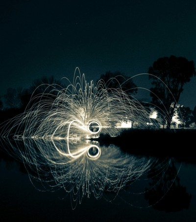 Steelwool reflection over Potchefstroom Dam South Africa
