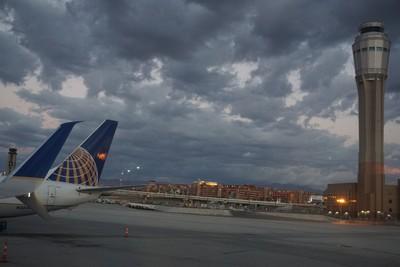 LasVegas airport  with Dark Clouds