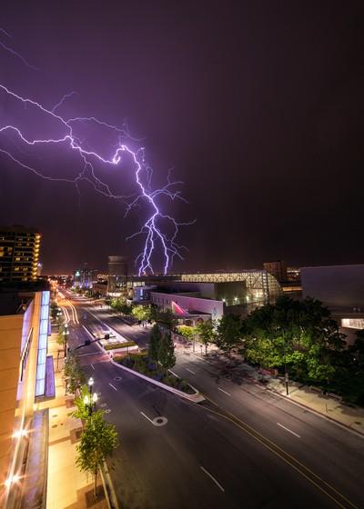 Lightning over Downtown Salt Lake City
