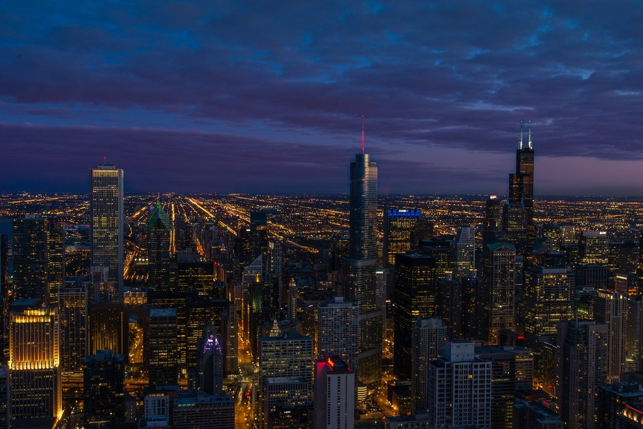 From the 94th floor of the John Hancock Building in Chicago.