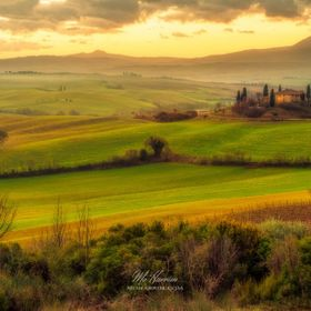 a beautiful sunrise in  Val d'Orcia, Tuscany