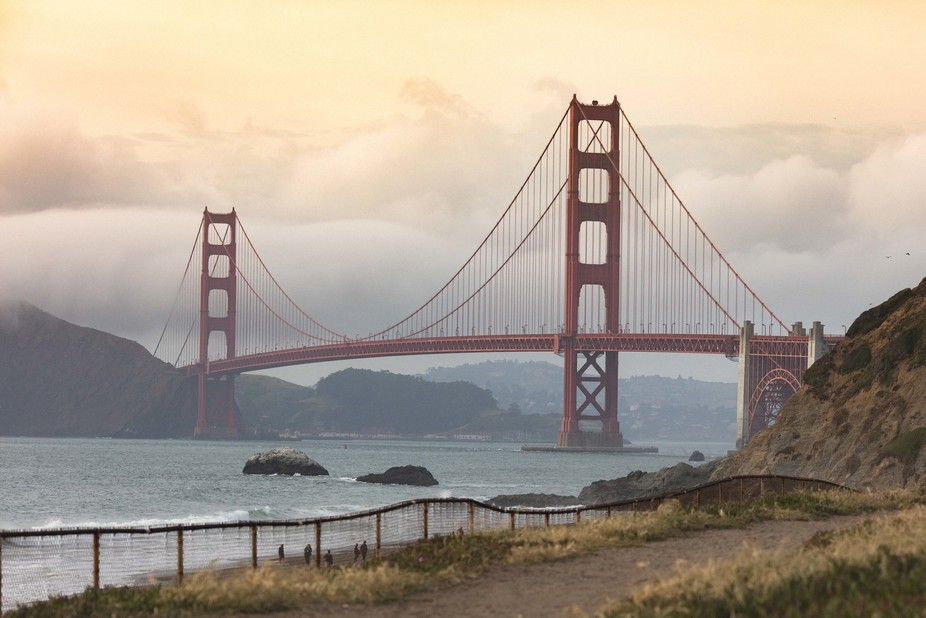 In San Francisco, shot from Baker Beach at sunset