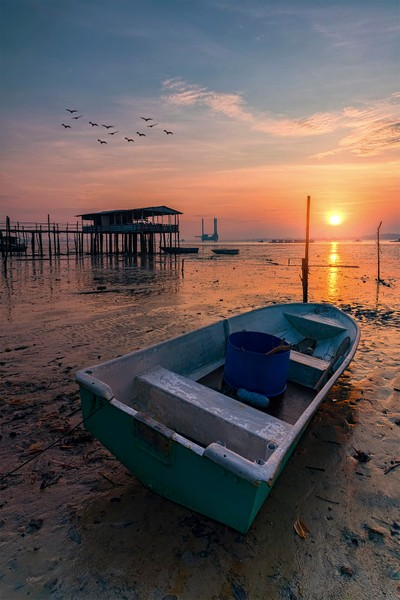 Sunrise during low tide