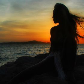 Sunset Silhouette, fashion shoot, Asian model, Thailand