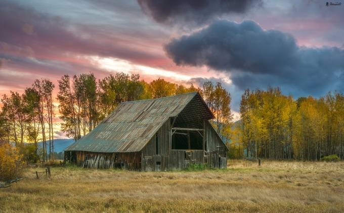 Sunset over Abandoned Barn by atanudutta - Farms And Barns Photo Contest