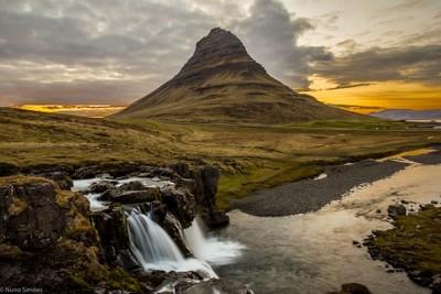HDR - Waterfall and Kirjufell - Iceland