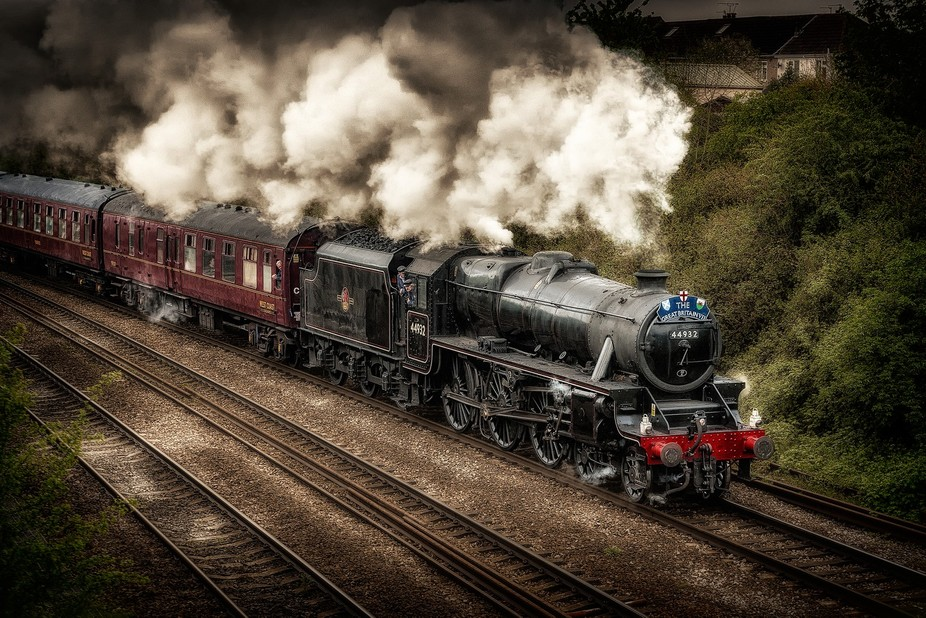 LMS Black 5 44932 steams towards Filton Abbywood station with the Great Britain 7 rail tour.