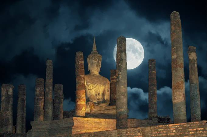 Full Moon Over Sukhothai by fredstein - The Moonlight Photo Contest