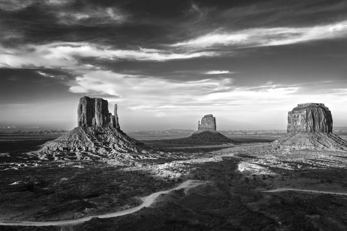 Monument Valley BW 4286 by brianadamson - Landscapes In Black And White Photo Contest