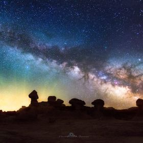 The milkyway over Goblin Valley State park in Southern Utah