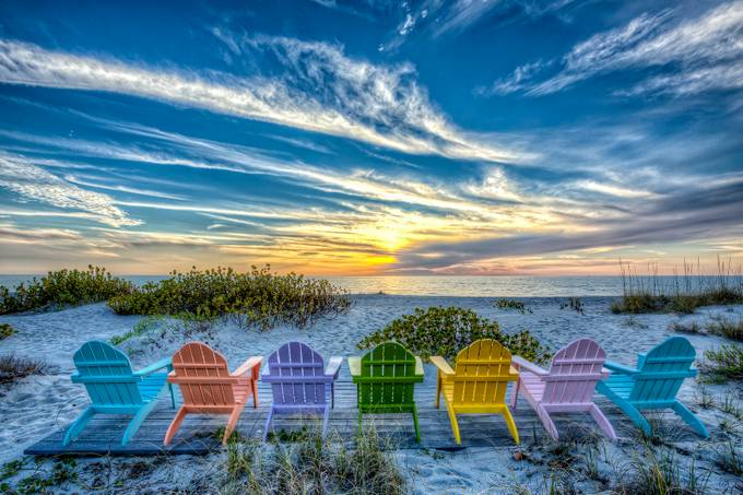 Captiva Sunset Chairs by scottevers - Bright And Colorful Photo Contest