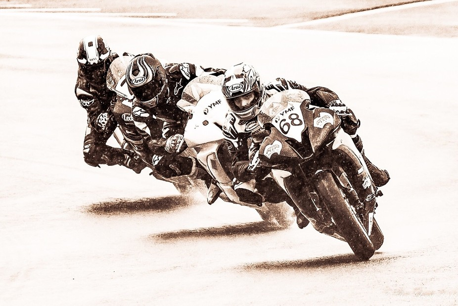 Three Super Bikes take turn 15 at Eastern Creek during round 3 of Australian Championships