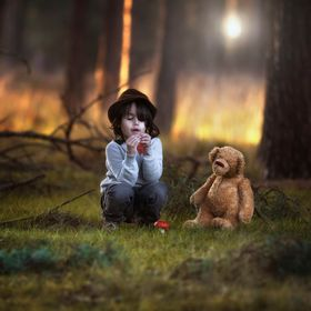 my son in the beautiful nature ....he always sais ...mommy that `me and my bear ....please take him with us .....