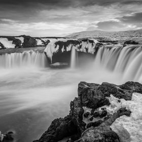 The beautiful majestic waterfall called Goðafoss (Waterfall of the Gods). Located in Northern Iceland.