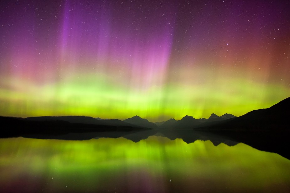 The aurora borealis showing off over Lake McDonald in Glacier National Park, Montana.