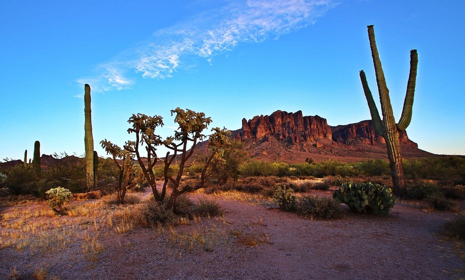 Superstition Mountains with the sunset hitting them