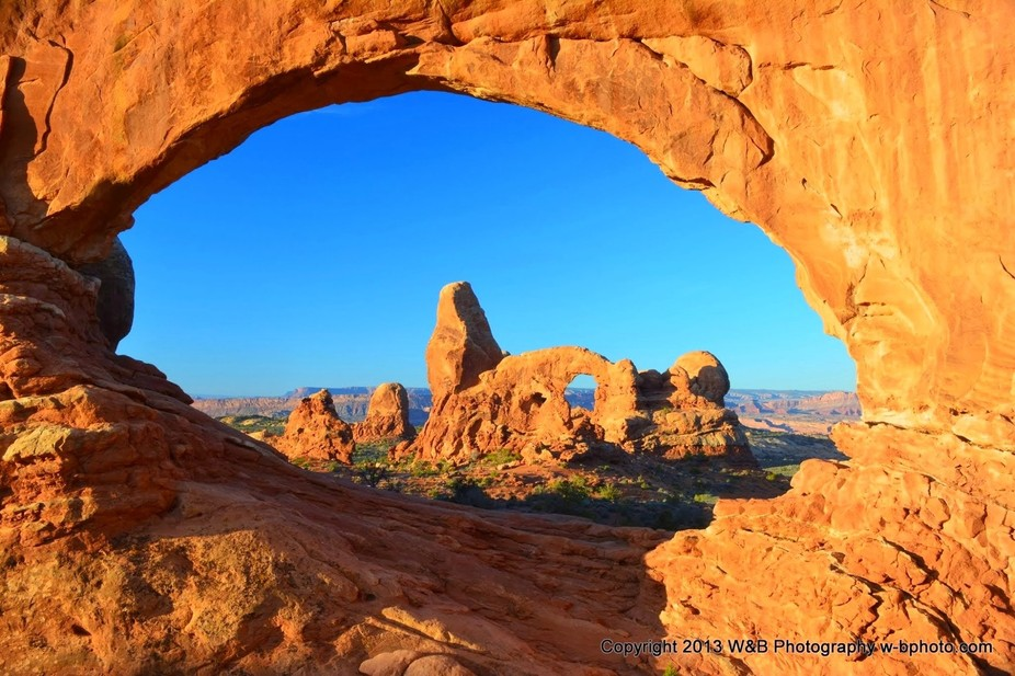 Turret Arch Through the Windows at Sunrise