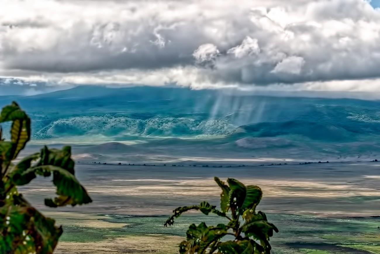 Local rain shower in the 25 mile diameter crater of Ngorongoro, Tanzania.