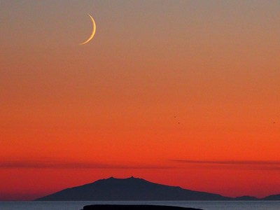 Mountain and the moon