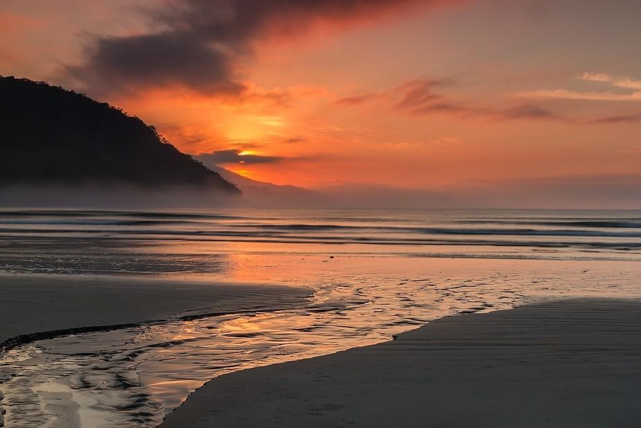 Dura Beach - Ubatuba - SP - Brazil at sunrise time