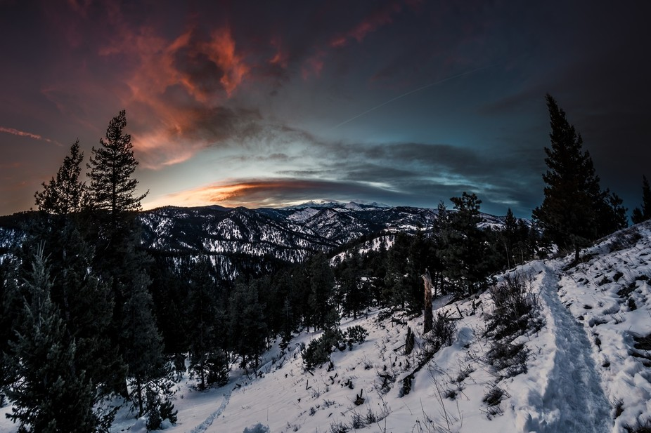 Sunset shot from the Tenderfoot trail in Boulder Colorado. Looking over the continental divide.