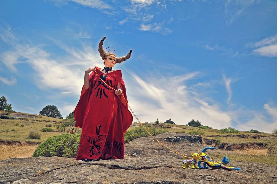 Thematic photo session realized in Valle de Piedras Encimadas, Mexico. It represents a free anima...