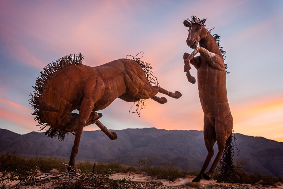 Metal horse statues in the desert near Borrego Springs, California