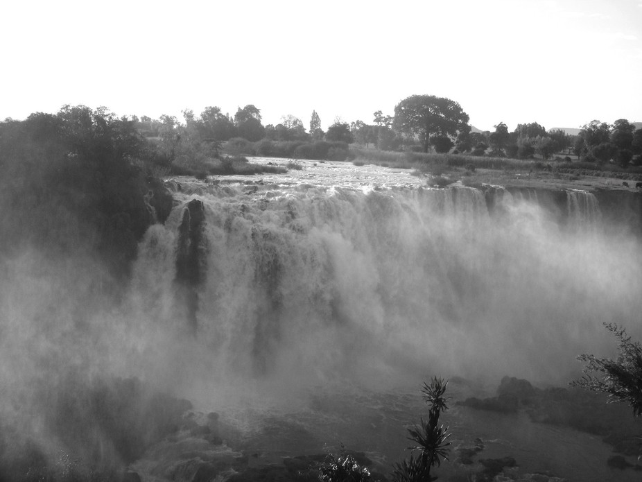 The falls are near Bahir Dar, close to the source of the Blue Nile in Lake Tana, Ethiopia.