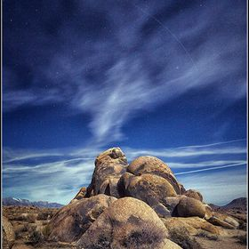 Night long exposure shot from the Alabama Hills .
