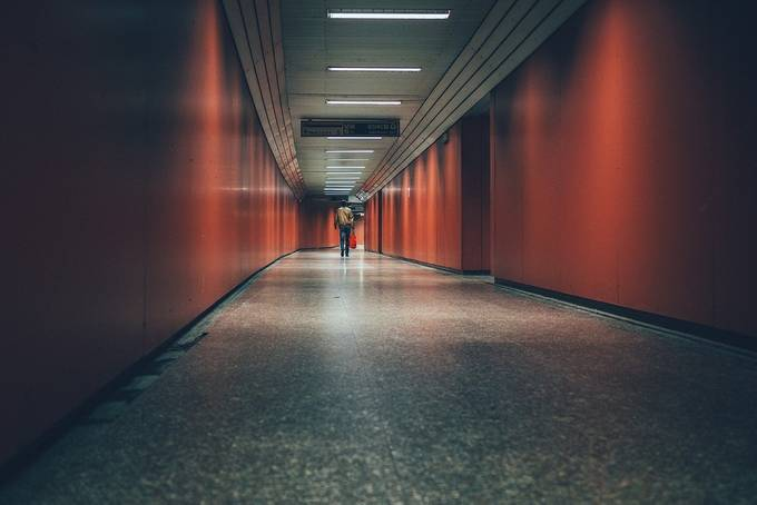 The red passageway  by carmenioneanu - Public Transport Hubs Photo Contest
