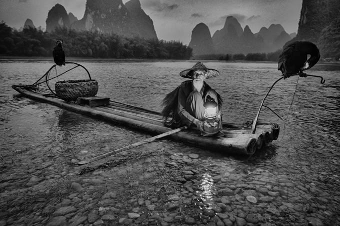 Li River Fisherman by smijh - Monochrome Creative Compositions Photo Contest