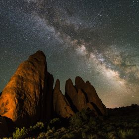 Pleased with a little light painting and the Milky Way at the Fins in Moab, Utah.